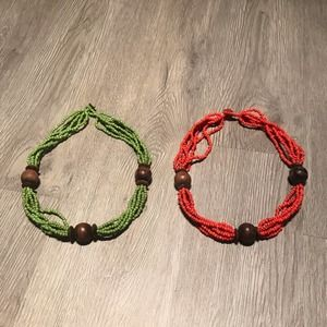 Green & Orange Beads Necklaces Chokers